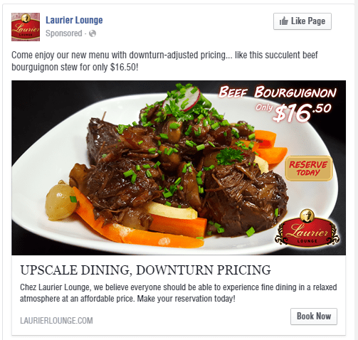 Laurier Lounge Beef Bourguignon Facebook Advertisement - Turkey Burg Creative