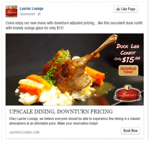 Laurier Lounge Duck Leg Facebook Advertisement - Turkey Burg Creative