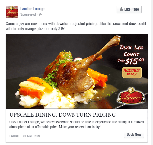 Laurier Lounge Duck Leg Facebook Advertisement - Turkey Burg Creative