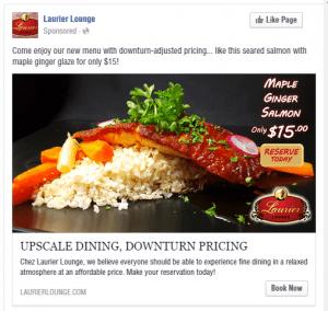 Laurier Lounge Maple Ginger Salmon Facebook Advertisement - Turkey Burg Creative
