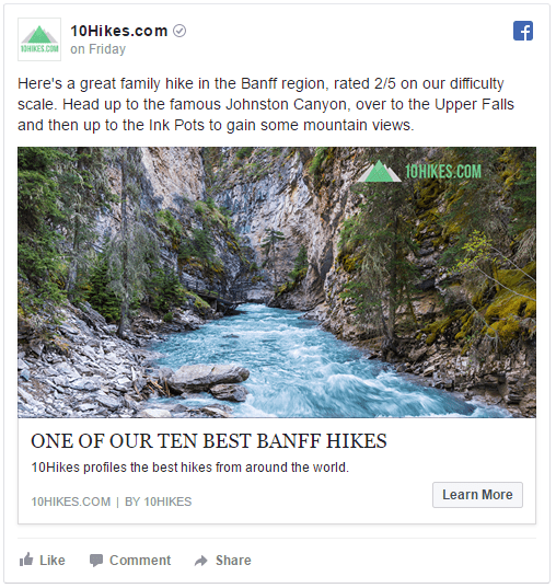 10Hikes.com Facebook Ad example