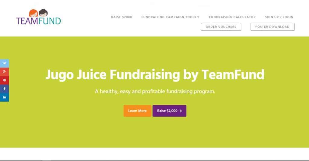 TeamFund Jugo Juice microsite developed by Turkey Burg Creative