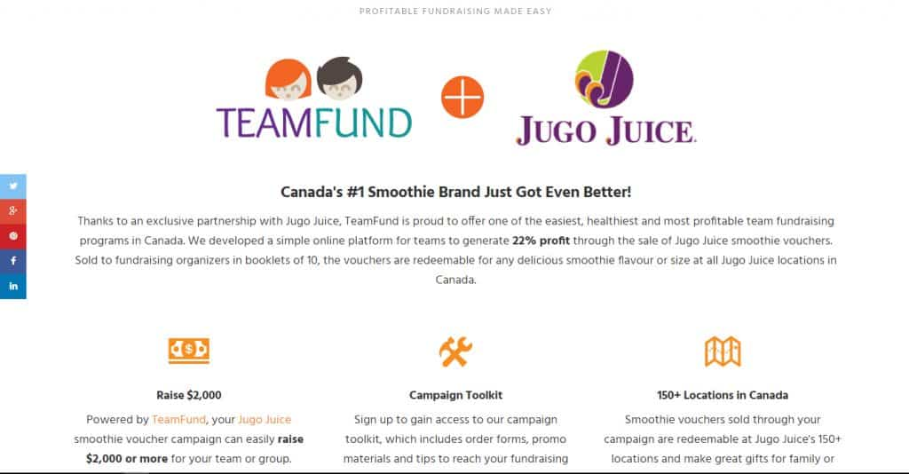 TeamFund Jugo Juice microsite developed by Turkey Burg Creative